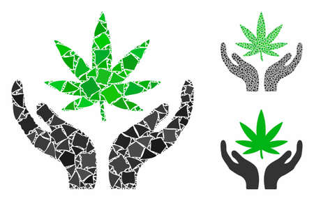 Cannabis care composition of tremulant parts in various sizes and color tones, based on cannabis care icon. Vector tremulant elements are organized into collage. 일러스트