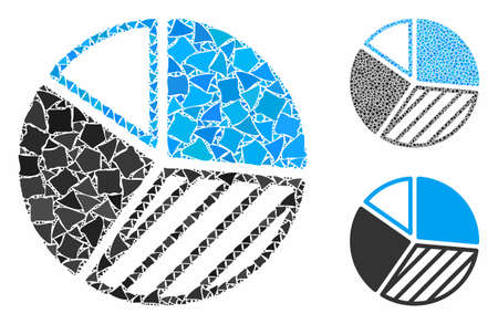Pie chart composition of raggy pieces in different sizes and color hues, based on pie chart icon. Vector bumpy items are organized into composition. Pie chart icons collage with dotted pattern.