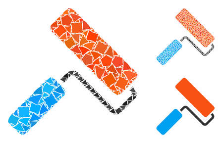 Paint roll composition of tremulant items in various sizes and color hues, based on paint roll icon. Vector abrupt items are composed into collage. Paint roll icons collage with dotted pattern. 矢量图像