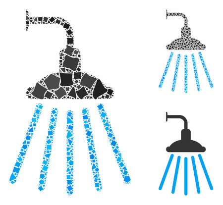 Shower mosaic of rough elements in variable sizes and color tinges, based on shower icon. Vector uneven elements are composed into collage. Shower icons collage with dotted pattern.