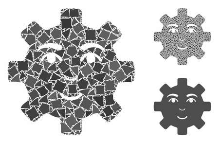 Happy service gear smiley mosaic of raggy pieces in different sizes and color tinges, based on happy service gear smiley icon. Vector bumpy pieces are grouped into mosaic. Illusztráció