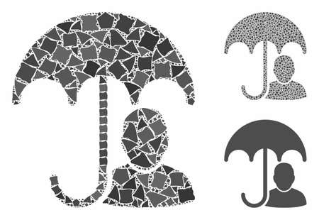 User safety umbrella composition of trembly parts in different sizes and color tones, based on user safety umbrella icon. Vector unequal parts are composed into collage.