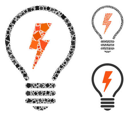 Electric lamp composition of raggy elements in various sizes and color tinges, based on electric lamp icon. Vector tuberous dots are organized into collage.
