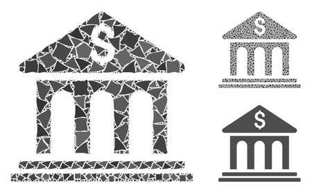 Bank building composition of ragged parts in variable sizes and color tones, based on bank building icon. Vector abrupt parts are composed into collage. Illustration