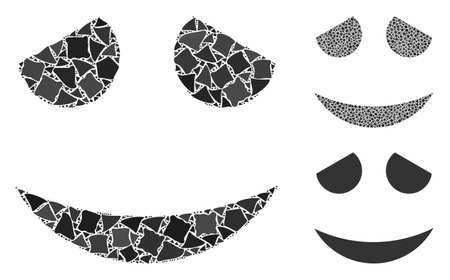 Embarrassed smiley composition of joggly pieces in variable sizes and color tinges, based on embarrassed smiley icon. Vector joggly elements are composed into composition.