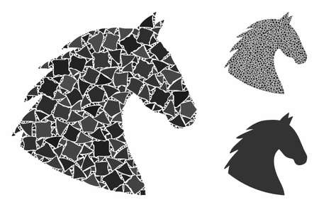 Horse head mosaic of inequal items in various sizes and color tints, based on horse head icon. Vector irregular items are organized into mosaic. Horse head icons collage with dotted pattern. Stock Illustratie