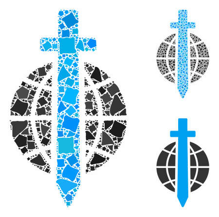 Sword globe mosaic of unequal pieces in various sizes and color hues, based on sword globe icon. Vector unequal items are composed into collage. Sword globe icons collage with dotted pattern.