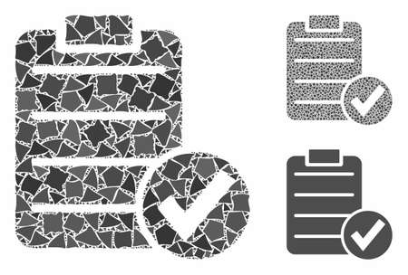Approve test mosaic of rough parts in different sizes and color tones, based on approve test icon. Vector rough items are organized into mosaic. Approve test icons collage with dotted pattern. Ilustração