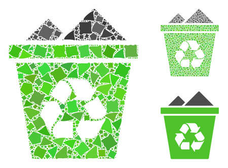 Full recycle bin mosaic of raggy pieces in different sizes and color tints, based on full recycle bin icon. Vector unequal pieces are organized into collage. Illustration