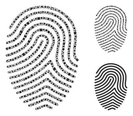 Finger print composition of unequal items in variable sizes and color tones, based on finger print icon. Vector trembly items are composed into collage. Finger print icons collage with dotted pattern.