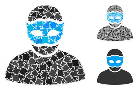 Mask person mosaic of rugged elements in different sizes and color tones, based on mask person icon. Vector abrupt dots are grouped into collage. Mask person icons collage with dotted pattern. Archivio Fotografico - 133207411