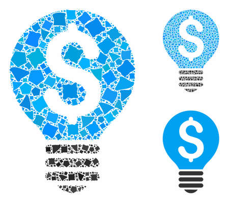 Business patent bulb mosaic of tuberous pieces in various sizes and shades, based on business patent bulb icon. Vector trembly parts are united into mosaic.