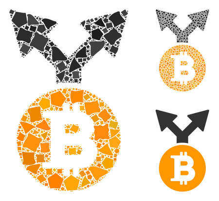 Bitcoin bifurcation mosaic of irregular parts in variable sizes and shades, based on Bitcoin bifurcation icon. Vector raggy parts are grouped into mosaic.