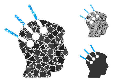 Neural interface mosaic of ragged items in variable sizes and shades, based on neural interface icon. Vector tremulant items are composed into collage.