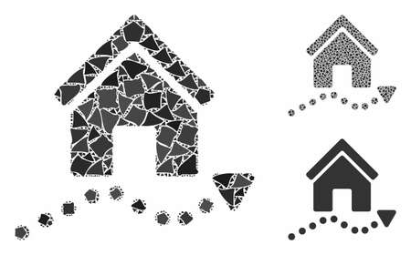Realty trend mosaic of trembly parts in variable sizes and color tints, based on realty trend icon. Vector rough elements are grouped into collage. Realty trend icons collage with dotted pattern.