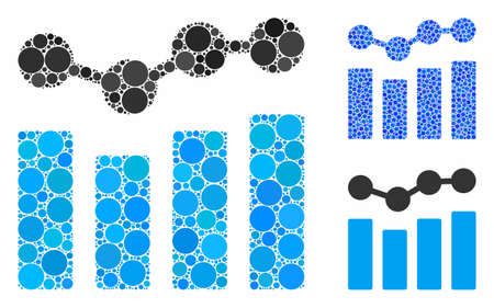 Charts mosaic of small circles in various sizes and color tinges, based on charts icon. Vector filled circles are composed into blue mosaic. Dotted charts icon in usual and blue versions. Illusztráció