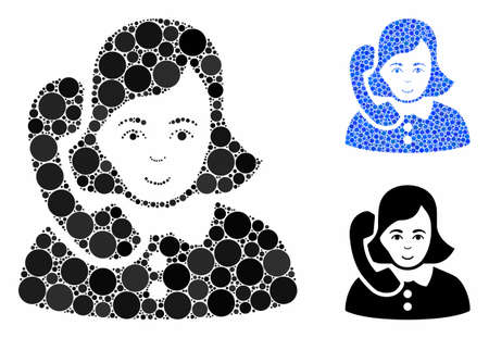 Receptionist mosaic of small circles in different sizes and color tints, based on receptionist icon. Vector filled circles are organized into blue composition.