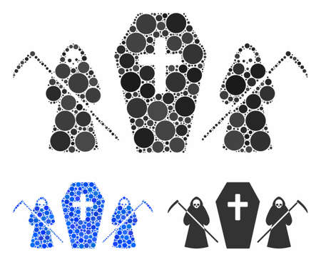 Scytheman coffin guard mosaic of spheric dots in different sizes and shades, based on scytheman coffin guard icon. Vector round elements are grouped into blue mosaic.