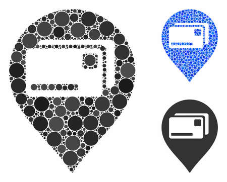 Bank cards pointer composition of round dots in various sizes and shades, based on bank cards pointer icon. Vector dots are composed into blue composition.