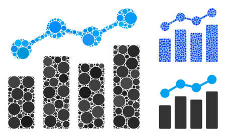 Analytics composition of small circles in different sizes and color tones, based on analytics icon. Vector small circles are organized into blue collage.