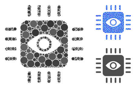 Bionic eye processor mosaic of round dots in various sizes and color tinges, based on bionic eye processor icon. Vector dots are grouped into blue mosaic.