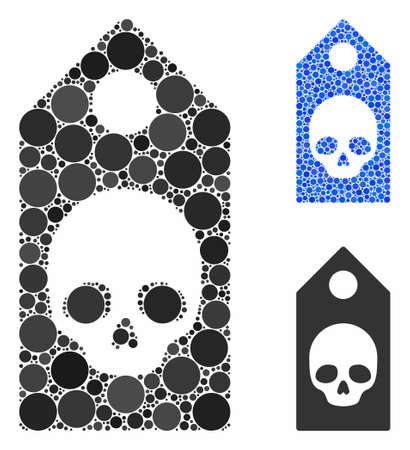 Death coupon mosaic of filled circles in various sizes and color tones, based on death coupon icon. Vector filled circles are united into blue collage.