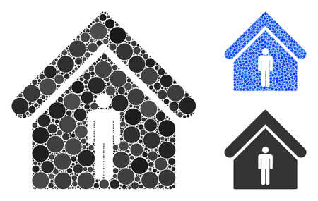 Man toilet building composition of filled circles in variable sizes and color tints, based on man toilet building icon. Vector small circles are united into blue composition. Illustration