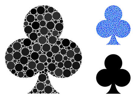 Clubs suit mosaic of small circles in different sizes and color tones, based on clubs suit icon. Vector random circles are combined into blue mosaic. Dotted clubs suit icon in usual and blue versions.