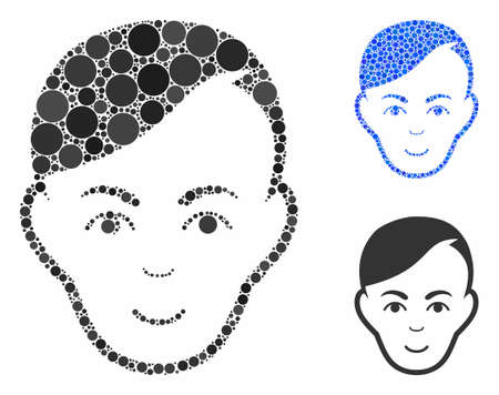 Human head composition of circle elements in various sizes and shades, based on human head icon. Vector circle elements are organized into blue composition. Archivio Fotografico - 133250296
