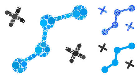 Route points composition of round dots in variable sizes and shades, based on route points icon. Vector round elements are organized into blue composition. Иллюстрация