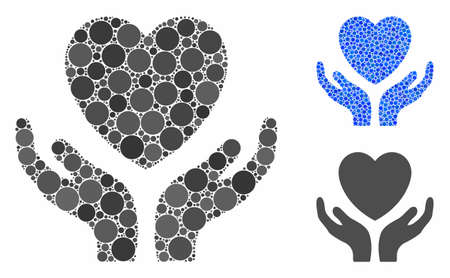Love heart care hands composition of round dots in different sizes and color tones, based on love heart care hands icon. Vector dots are composed into blue composition.