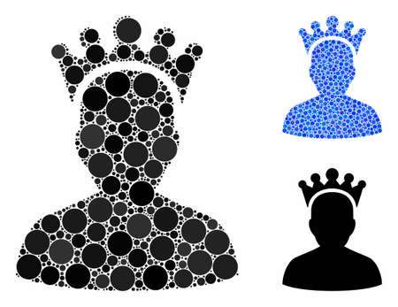 King mosaic of small circles in different sizes and color hues, based on king icon. Vector small circles are composed into blue collage. Dotted king icon in usual and blue versions.