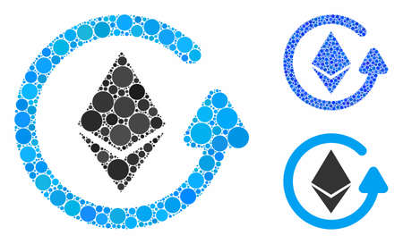 Ethereum refund mosaic of small circles in various sizes and color tinges, based on Ethereum refund icon. Vector small circles are organized into blue illustration.