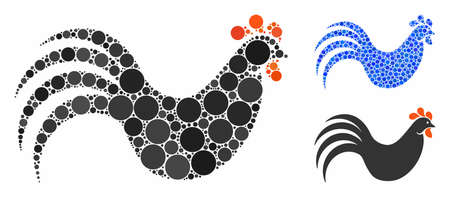 Chicken composition of small circles in various sizes and color tints, based on chicken icon. Vector small circles are united into blue mosaic. Dotted chicken icon in usual and blue versions.
