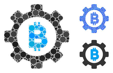 Bitcoin gear mosaic of circle elements in different sizes and color tones, based on Bitcoin gear icon. Vector circle elements are combined into blue mosaic.
