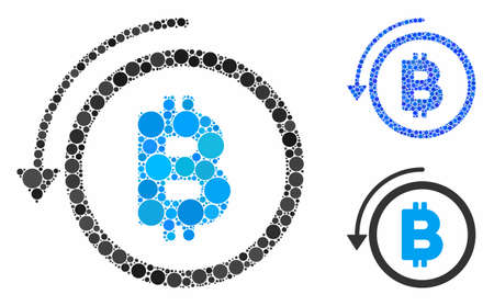 Undo Bitcoin payment composition of small circles in variable sizes and color tinges, based on undo Bitcoin payment icon. Vector small circles are composed into blue composition.