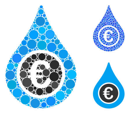 Euro liquid drop composition of filled circles in various sizes and shades, based on Euro liquid drop icon. Vector filled circles are combined into blue collage.