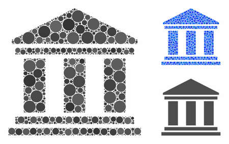 Building mosaic of spheric dots in various sizes and color tints, based on building icon. Vector round dots are composed into blue mosaic. Dotted building icon in usual and blue versions.