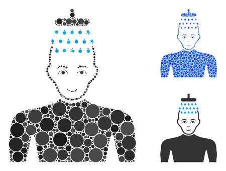 Man shower composition of small circles in different sizes and shades, based on man shower icon. Vector filled circles are grouped into blue composition.