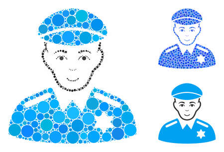 Sheriff composition of circle elements in various sizes and color tints, based on sheriff icon. Vector circle elements are grouped into blue composition. Illusztráció
