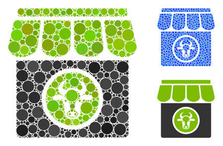 Livestock farm mosaic of filled circles in different sizes and shades, based on livestock farm icon. Vector filled circles are composed into blue mosaic.