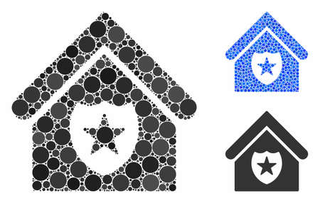 Realty protection composition of circle elements in different sizes and color hues, based on realty protection icon. Vector circle elements are composed into blue composition. Illustration