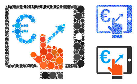 Euro analytics tablet mosaic of round dots in various sizes and color hues, based on euro analytics tablet icon. Vector filled circles are composed into blue mosaic.