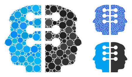 Dual head interface composition of round dots in various sizes and color tinges, based on dual head interface icon. Vector round elements are composed into blue composition.