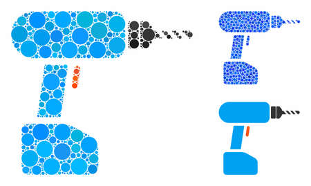 Drill mosaic of filled circles in different sizes and shades, based on drill icon. Vector filled circles are grouped into blue mosaic. Dotted drill icon in usual and blue versions.