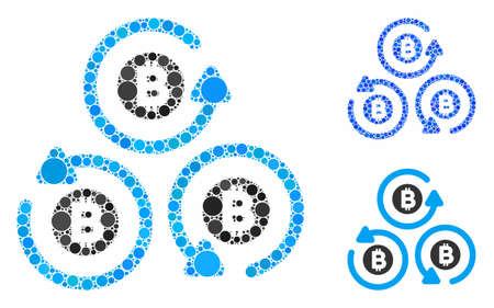 Bitcoin mixer rotation mosaic of filled circles in different sizes and shades, based on Bitcoin mixer rotation icon. Vector filled circles are grouped into blue mosaic.