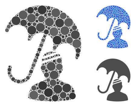 Patient umbrella protection mosaic of circle elements in various sizes and color hues, based on patient umbrella protection icon. Vector circle elements are composed into blue mosaic. Illustration