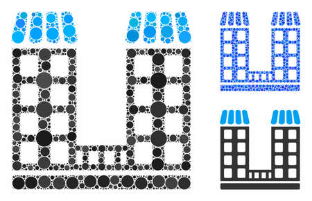 Company buildings composition of spheric dots in various sizes and color hues, based on company buildings icon. Vector round dots are combined into blue collage. Illustration