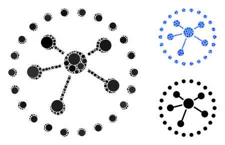 Links diagram mosaic of small circles in different sizes and shades, based on links diagram icon. Vector random circles are organized into blue mosaic.