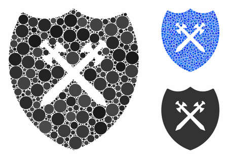 Shield composition of small circles in various sizes and color hues, based on shield icon. Vector random circles are organized into blue composition. Dotted shield icon in usual and blue versions.